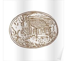 Log Cabin Farm House Oval Etching Poster