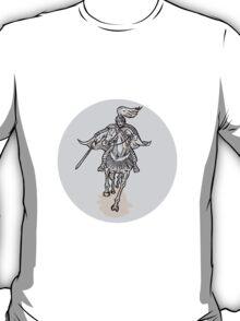 Samurai Warrior With Katana Sword Horseback Etching T-Shirt