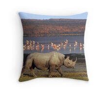 BLACK RHINO - LAKE NAKURU Throw Pillow