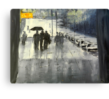 Rainy City Street Canvas Print