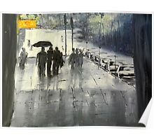 Rainy City Street Poster