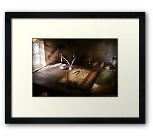 The drafting table Framed Print