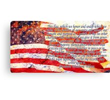 Woodrow Wilson Quote on Flag Canvas Print