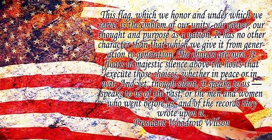 Woodrow Wilson Quote on Flag by Ryan Houston