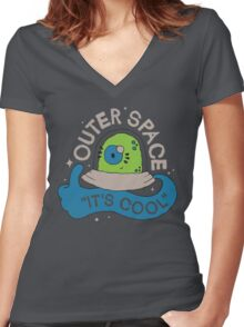 OUTER SPACE! Women's Fitted V-Neck T-Shirt