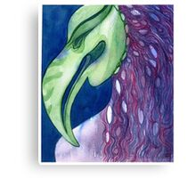 African Bird Mask Watercolor Painting Canvas Print