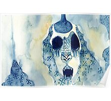 Blue Abstract Mask Watercolor Painting Poster