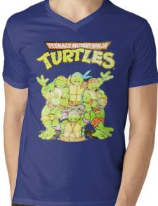 Retro Ninja Turtles Mens V-Neck T-Shirt