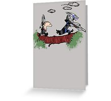 Mass Effect Calvin Hobbes Greeting Card