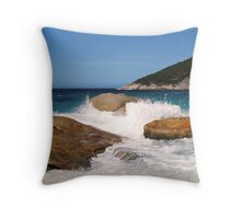 Rocky scene at Little Beach Throw Pillow