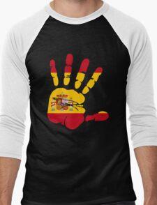 Spain flag in handprint Men's Baseball ¾ T-Shirt