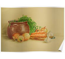 Still life with carrots and onions Poster