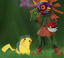 Skull Kid and Pikachu by PhillipLove