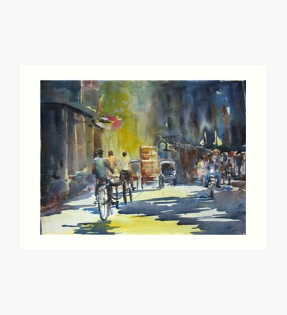 Three cyclists Art Print