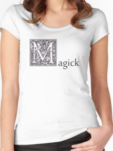 MAGICK Wiccan Pagan Gothic Celtic Druid Purple Knot Flowers Saying Tshirt Shirt Sticker Gifts Women's Fitted Scoop T-Shirt