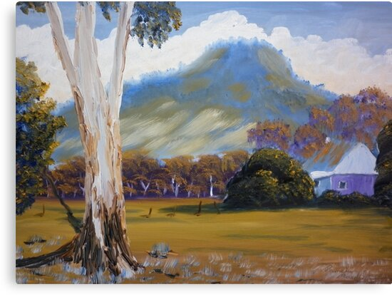 Farm with Large Gum Tree by PamelaMeredith