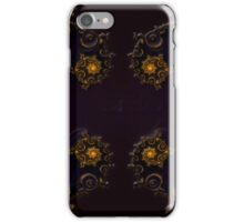 Golden Fractal Decoration on Dark Blue iPhone Case/Skin