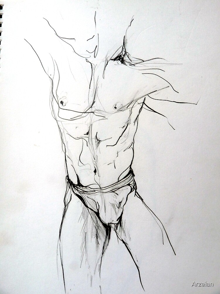 Mannequin study (in pencil) by Arzeian