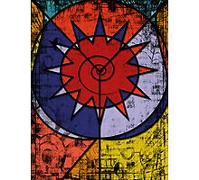 Digital Graffiti of Tribal Symbol in Red, Blue and Yellow Photographic Print