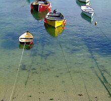Fishing boats in Mousehole Harbour by Claire Aberlé