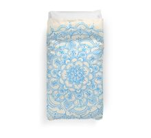 Pale Blue Pencil Pattern - hand drawn lace mandala Duvet Cover