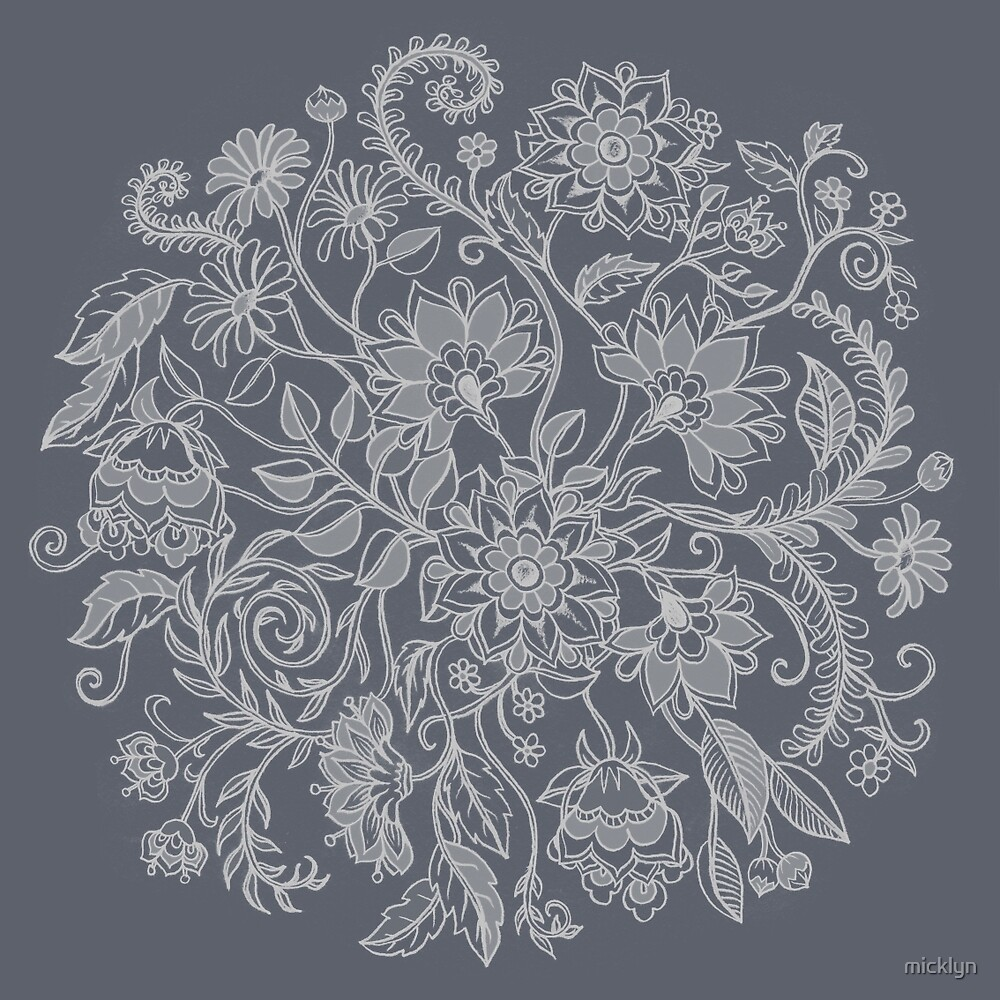 Jacobean-Inspired Light on Dark Grey Floral Doodle by micklyn