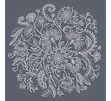 Jacobean-Inspired Light on Dark Grey Floral Doodle Photographic Print