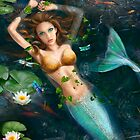 Beautiful Fantasy mermaid in water, in lake with lilies.  by Alena Lazareva