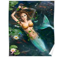 Beautiful Fantasy mermaid in water, in lake with lilies.  Poster