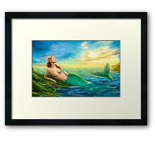 Beautiful  fantasy mermaid at sunset Framed Print
