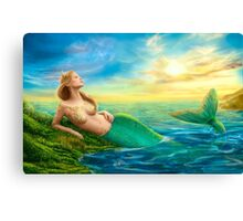 Beautiful  fantasy mermaid at sunset Canvas Print