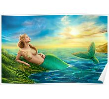 Beautiful  fantasy mermaid at sunset Poster