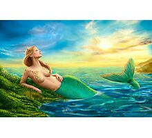 Beautiful  fantasy mermaid at sunset Photographic Print