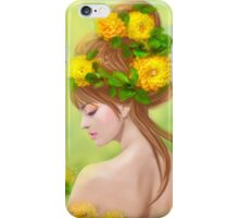 Spring woman in yellow flowers iPhone Case/Skin