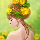 Spring woman in yellow flowers by Alena Lazareva