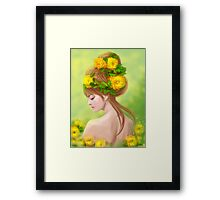 Spring woman in yellow flowers Framed Print
