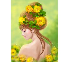 Spring woman in yellow flowers Photographic Print