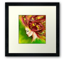 Fantasy Portrait beautiful woman green summer spring butterfly Framed Print