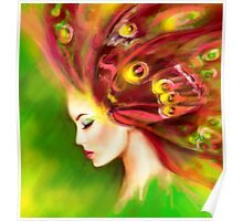 Fantasy Portrait beautiful woman green summer spring butterfly Poster