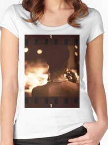 Sensual young lady in wedding black and white sepia 35mm photo Women's Fitted Scoop T-Shirt