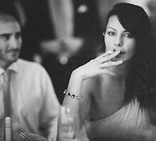Beautiful young lady in wedding smoking black and white  photo by edwardolive