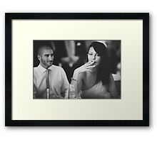 Beautiful young lady in wedding smoking black and white  photo Framed Print