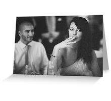 Beautiful young lady in wedding smoking black and white  photo Greeting Card