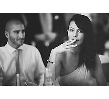 Beautiful young lady in wedding smoking black and white  photo Photographic Print
