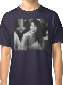 Beautiful young lady in wedding smoking black and white  photo Classic T-Shirt