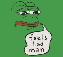Feels bad man Pepe the sad frog Kids Tee