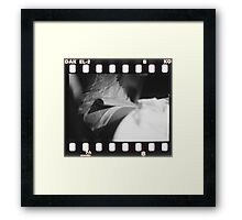 Sensual young lady in short skirt in wedding black and white slide film 35mm analog Framed Print