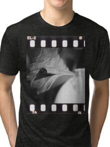Sensual young lady in short skirt in wedding black and white slide film 35mm analog Tri-blend T-Shirt