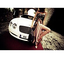 Sensual young lady 69 Sixty Nine Bentley sports car Marbella Photographic Print