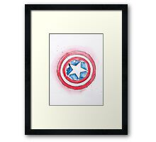 Captain America's Shield Watercolour Illustration Framed Print